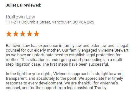 Railtown Law Reviews Juliet Lai
