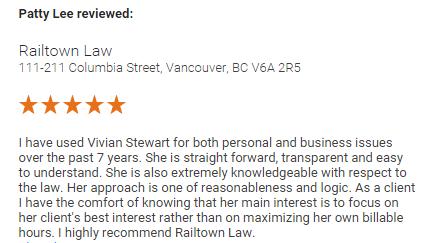 Railtown Law Vancouver reviews Patty Lee